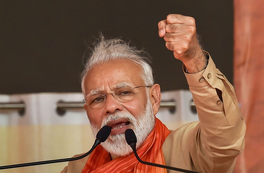 Charkhi Dadri: Prime Minister Narendra Modi addresses an election campaign rally ahead of Haryana Assembly elections, in Charkhi Dadri, Tuesday, Oct. 15, 2019. (PTI Photo/Manvender Vashist) (PTI10_15_2019_000116B)