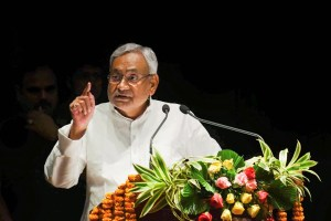Patna: Bihar Chief Minister Nitish Kumar speaks during the International Conference on Crop Residue Management in Patna, Monday, Oct. 14, 2019. (PTI Photo)(PTI10_14_2019_000064B)