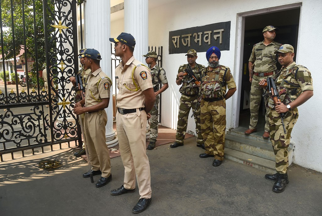 Mumbai: Central Industrial Security Force (CISF) personnel deployed outside Raj Bhavan, in Mumbai, Monday, Nov. 25, 2019. (PTI Photo/Mitesh Bhuvad) (PTI11_25_2019_000053B)