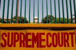 A signboard is seen outside the premises of Supreme Court in New Delhi, India, September 28, 2018. REUTERS/Anushree Fadnavis/File Photo