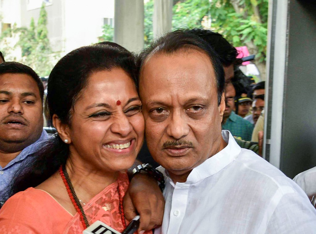 Mumbai: NCP leaders Supriya Sule and Ajit Pawar during a special session of Maharashtra Assembly, at Vidhan Bhawan in Mumbai, Wednesday, Nov. 27, 2019. (PTI Photo)  (PTI11_27_2019_000170B)