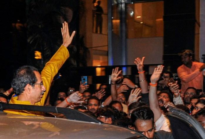 Mumbai: Shiv Sena chief Uddhav Thackeray leaves Trident Hotel after a meeting with NCP chief Sharad Pawar in Mumbai, Tuesday, Nov. 26, 2019. The Shiv Sena-NCP-Congress alliance on Tuesday evening announced Shiv Sena president Uddhav Thackeray as their nominee for the Maharashtra chief minister's post. (PTI Photo)(PTI11_26_2019_000264B)