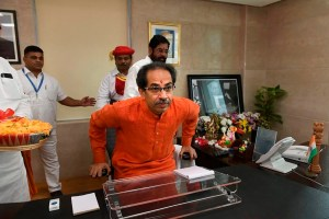 Mumbai: Maharashtra Chief Minister Uddhav Thackeray formally takes charge of his office, in Mumbai, Friday, Nov. 29, 2019. (Twitter/PTI Photo) (PTI11_29_2019_000181B)