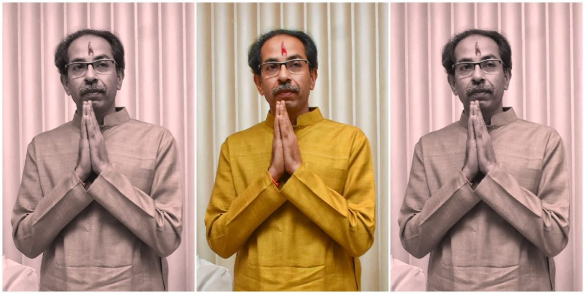 Mumbai: Shiv Sena President Uddhav Thackeray gestures after he was chosen as the nominee for Maharashtra chief minister's post by Shiv Sena-NCP-Congress alliance, during a meeting in Mumbai, Tuesday, Nov. 26, 2019. NCP chief Sharad Pawar and other leaders are also seen. (PTI Photo)(PTI11_26_2019_000255B)