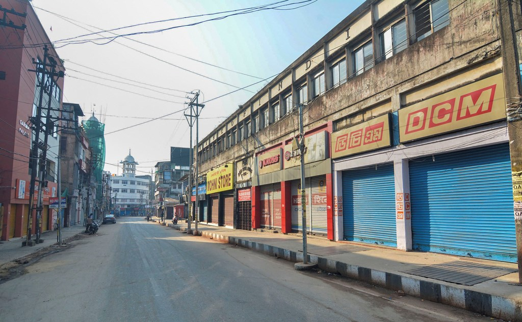 Guwahati: Closed shops and deserted roads are seen during a strike called by All Assam Students' Union (AASU) and the North East Students' Organisation (NESO) in protest against the Citizenship Amendment Bill, at Fancy Bazaar in Guwahati, Tuesday, Dec.10, 2019. (PTI Photo)(PTI12_10_2019_000032B)