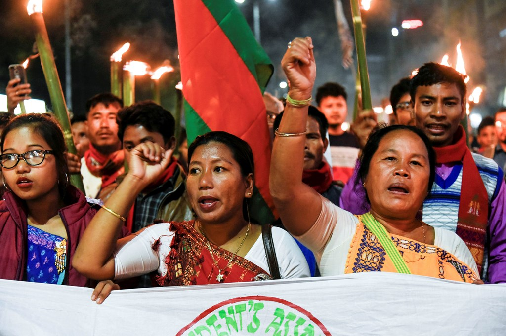 Guwahati: People holding torches march during a protest over the Citizenship Amendment Bill, 2019 (CAB) in Guwahati, Saturday, Dec. 7, 2019. (PTI Photo)(PTI12_7_2019_000181B)