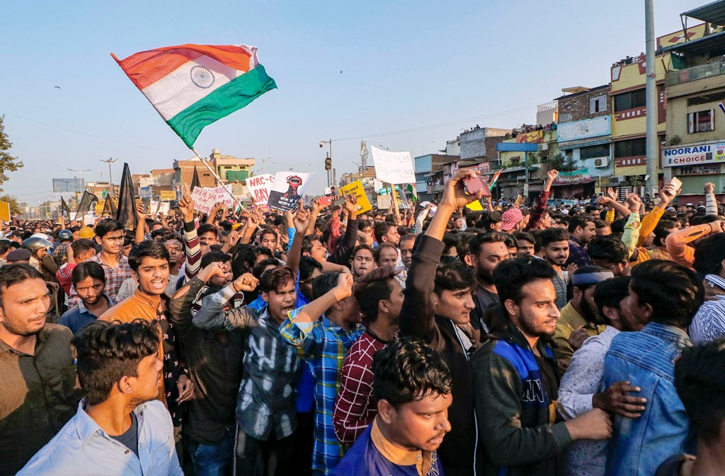 Ahmedabad: Protestors raise slogans during a demonstration against Citizenship Amendment Act (CAA), in Ahmedabad, Thursday, Dec. 19, 2019. (PTI Photo)(PTI12_19_2019_000289B)