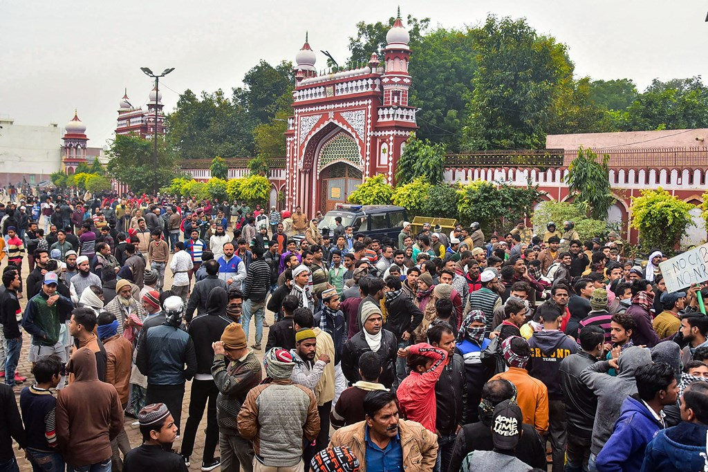 Aligarh: People gather at the Eidgah to protest against the alleged police action on AMU students who were protesting over Citizenship Amendment Act, in Aligarh, Monday, Dec. 16, 2019. (PTI Photo) (PTI12_16_2019_000261B)