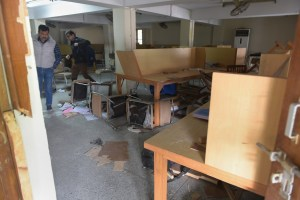 New Delhi: Jamia Millia Islamia University library vandalised on Sunday night during police action against the students, in New Delhi, Wednesday, Dec. 18, 2019. Jamia Teachers Association and students have been agitating against the Citizenship Amendment Act (CAA). (PTI Photo/Vijay Verma)(PTI12_18_2019_000074B)