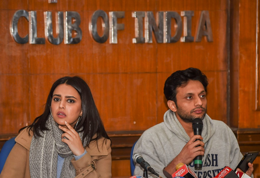 New Delhi: Actors Zeeshan Ayyub and Swara Bhaskar interact with the media on the amended Citizenship Act, at Press Club of India in New Delhi, Thursday, Dec. 26, 2019. (PTI Photo/Subhav Shukla) (PTI12_26_2019_000063B)