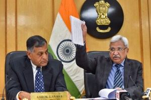 New Delhi: Chief Election Commissioner Sunil Arora along with Election Commissioner Ashok Lavasa (L) addresses a press conference to announce the poll schedule for the forthcoming Delhi Assembly elections, in New Delhi, Monday, Jan. 6, 2020. The elections in Delhi will be held on Feb. 8 and results will be declared on Feb. 11. (PTI Photo/Subhav Shukla)  (PTI1_6_2020_000099B)