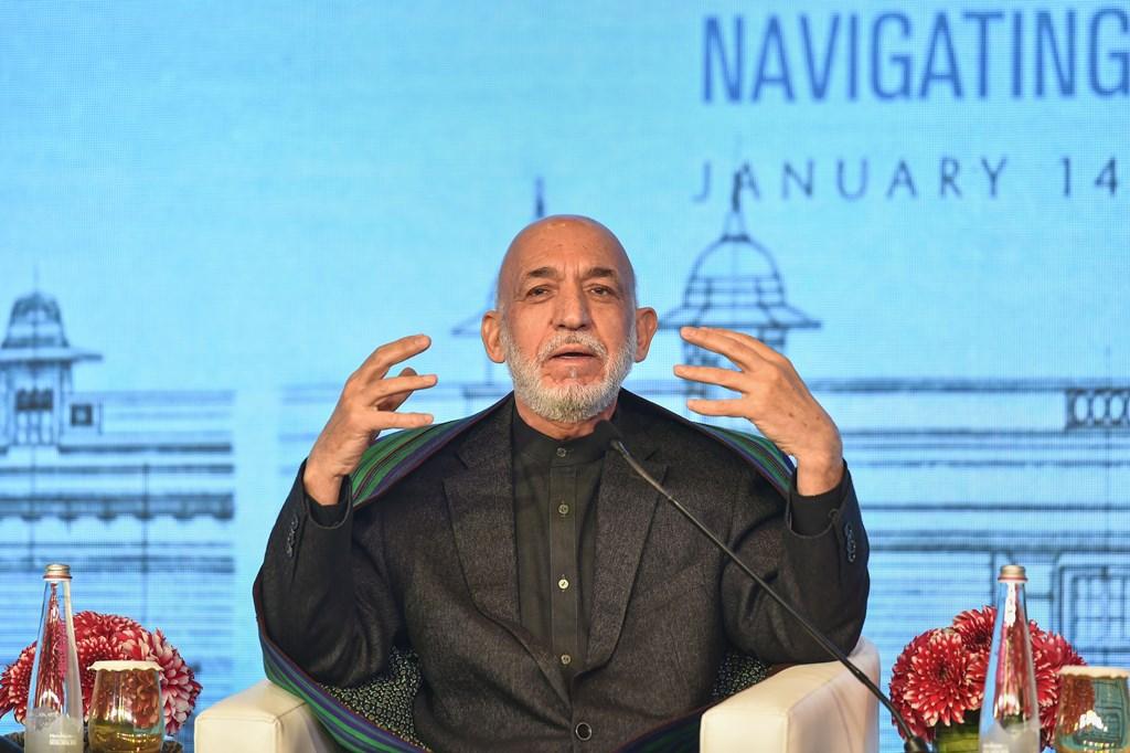 New Delhi: Former Afghan President Hamid Karzai addresses a session at the Raisina Dialogue 2020, in New Delhi, Thursday, Jan. 16, 2020. (PTI Photo/Kamal Kishore)  (PTI1_16_2020_000038B)