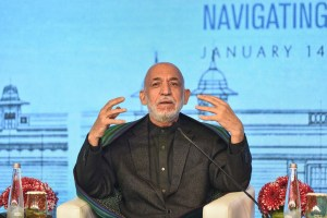 New Delhi: Former Afghan President Hamid Karzai addresses a session at the Raisina Dialogue 2020, in New Delhi, Thursday, Jan. 16, 2020. (PTI Photo/Kamal Kishore)  (PTI1_16_2020_000038B)