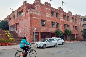 New Delhi: Delhi police vehicles are seen parked at admin block of JNU Campus in New Delhi, Monday, Jan. 13, 2020. A team of Delhi Police's Crime branch on Monday visited the Jawaharlal Nehru University and questioned three students, including Aishe Ghosh in connection with the January 5 violence on the varsity's campus. (PTI Photo/Ravi Choudhary)(PTI1_13_2020_000146B)