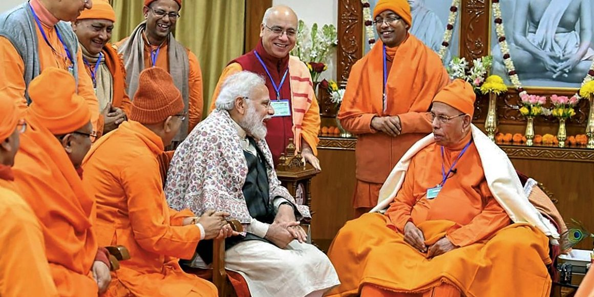 Prime Minister Narendra Modi with monks at Belur Math in Howrah district. Photo Twitter narendramodi