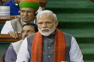 *EDS: TV GRAB** New Delhi: Prime Minister Narendra Modi rises to make a statement in the Lok Sabha, during the ongoing Budget Session of Parliament in New Delhi, Wednesday, Feb. 5, 2020. PM Modi announced the formation of a trust for the construction of a Ram Temple in Ayodhya as directed by the Supreme Court in its verdict in the Ram Janmabhoomi-Babri Masjid case in November last year. (LSTV/PTI Photo) (PTI2 5 2020 000027B)
