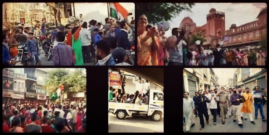 कोरोना वायरस के संक्रमण के मद्देनज़र 22 मार्च 2020 को प्रधानमंत्री नरेंद्र मोदी के आह्वान पर हुए जनता कर्फ्यू के दौरान सड़क पर निकले विभिन्न शहरों के लोग. (फोटो साभार: ट्विटर)