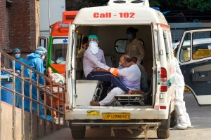 New Delhi: Suspected COVID-19 patients wait to be admitted after being shifted from Dr. Baba Saheb Ambedkar hospital to LNJP hospital, during the ongoing COVID-19 lockdown, in New Delhi, Tuesday, June 9, 2020. (PTI Photo/Manvender Vashist)(PTI09-06-2020 000227B)