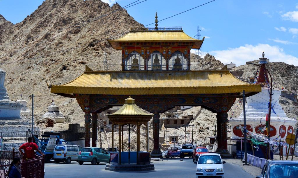 Leh: Vehicles pass through the Leh Gate in Leh, Ladakh, Sunday, July 12, 2020. (PTI Photo) (PTI12-07-2020 000194B)