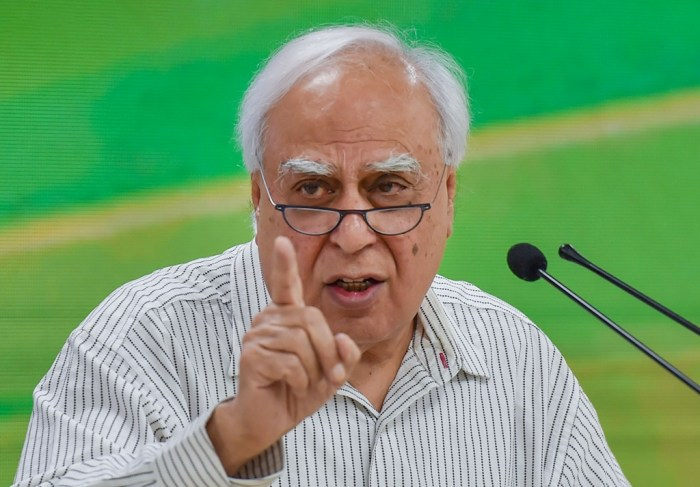 New Delhi: In this Oct. 19, 2019 file photo, senior Congress leader Kapil Sibal during a press conference in New Delhi. Sibal rebutted after Rahul Gandhi charged that the letter seeking leadership changes was written in cahoots with the BJP, during a CWC meeting, Monday, Aug. 24, 2020. (PTI Photo/Manvender Vashist)