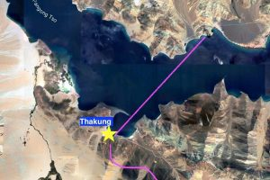 Thakung is on the southern shore of the Pangong lake, on the Indian side of the Line of Actual Control, shown here as a pink line. Map: The Wire/Google Maps