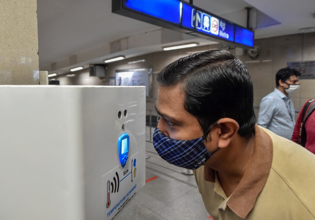 New Delhi: Handsfree thermal screening device installed at Rajiv Chowk station as part of preparations ahead of the resumption of Delhi Metro services from Sept. 7 with restrictions, in New Delhi, Thursday, Sept. 3, 2020. (PTI Photo/Ravi Choudhary)(PTI03-09-2020 000049B)