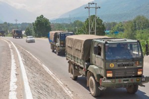Kullu: Army trucks move along the Manali-Leh highway, amid border tension between India and China, in Kullu district, Wednesday, Sept. 2, 2020. (PTI Photo)(PTI02-09-2020 000063B)