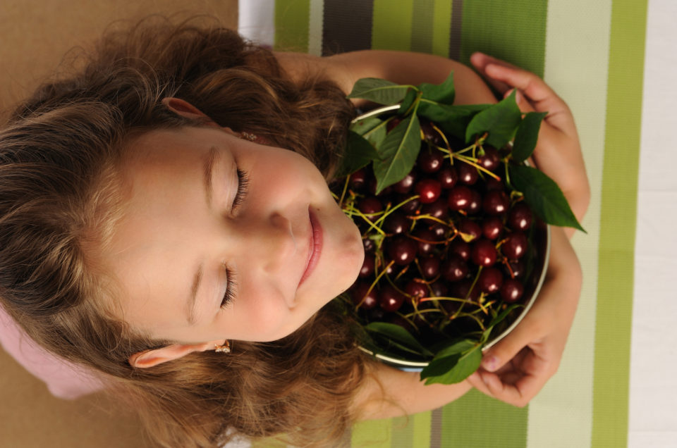 Little girl with a cherry . A happy and cheerful girl holds a pot of cherries in her hands. She is very cheerful that now she will eat her favorite berries cherries. Sweet cherry large red ripe with green leaves. The girl has big beautiful eyes.