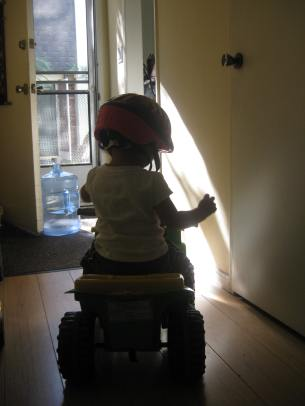 And the morning adventure begins as my daughter begins riding out the door before I'm even ready.