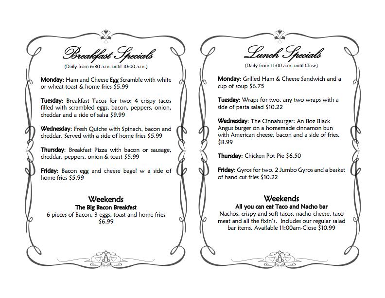 January 2018 Specials