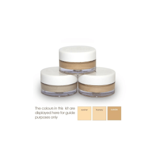 3 pots with 3 shades of cover cream light to medium