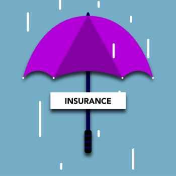 cutout paper appliques of insurance inscription under umbrella