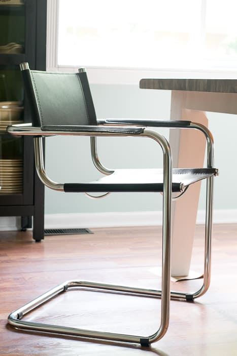 picture of black leather and chrome cantilever chair