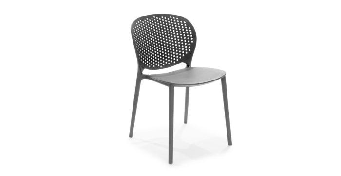 Image of black metal dot dining chair