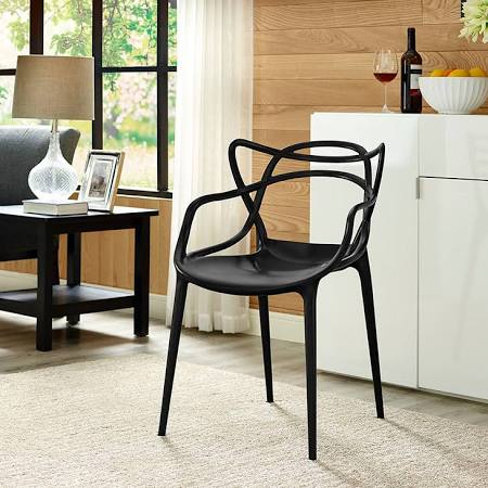Image of black modern dining room chair