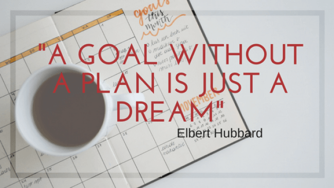 "Graphic with quote: ""A goal without a plan is just a dream"""