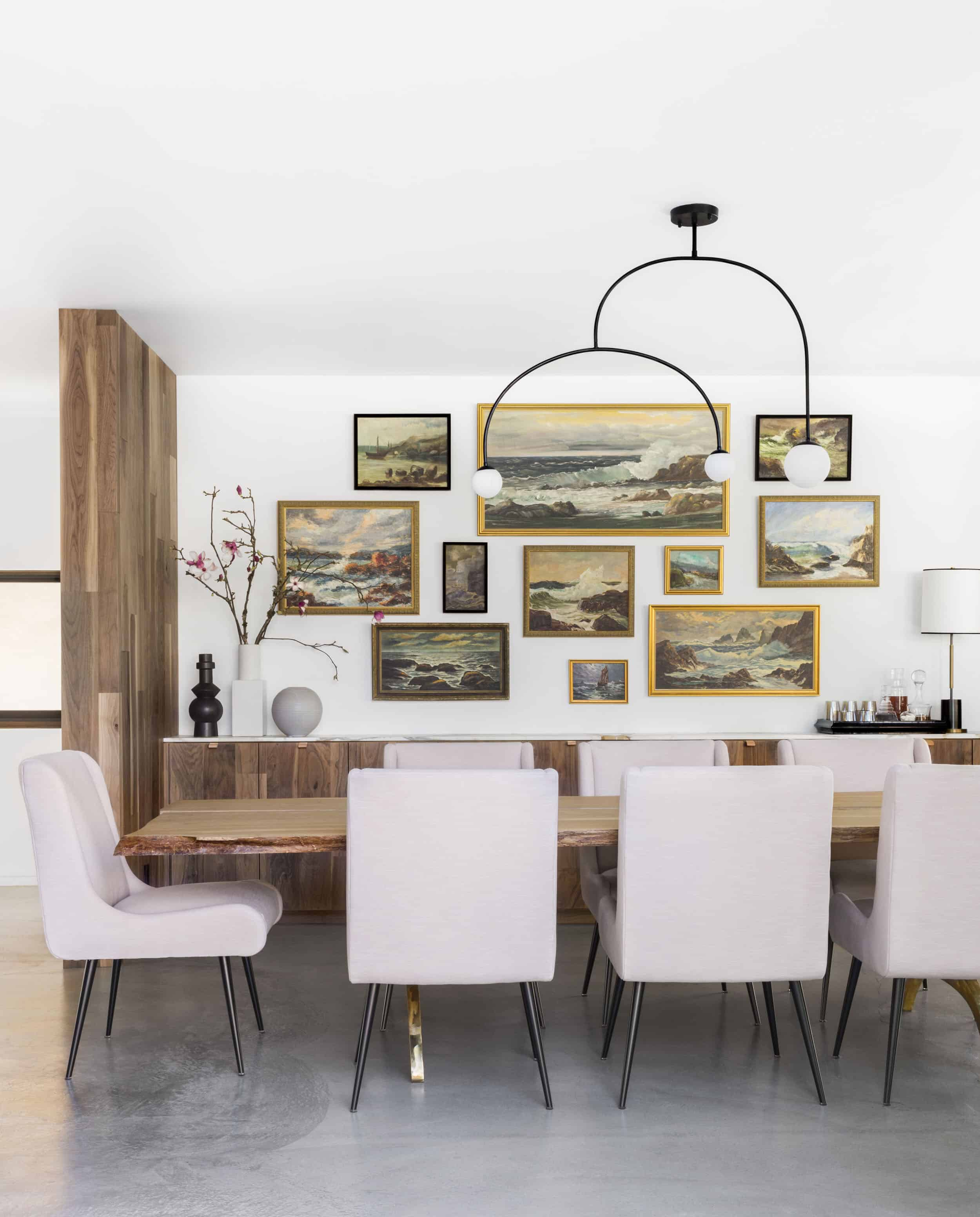 wonderful example of understated, very organic dining room with mid century modern vibe