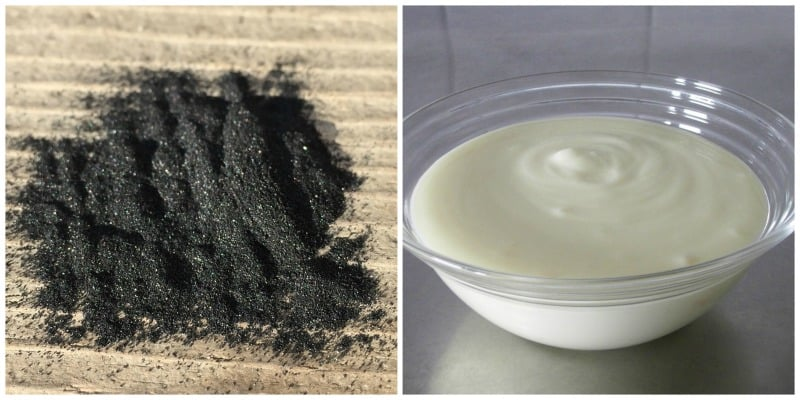picture collage of yogurt and charcoal