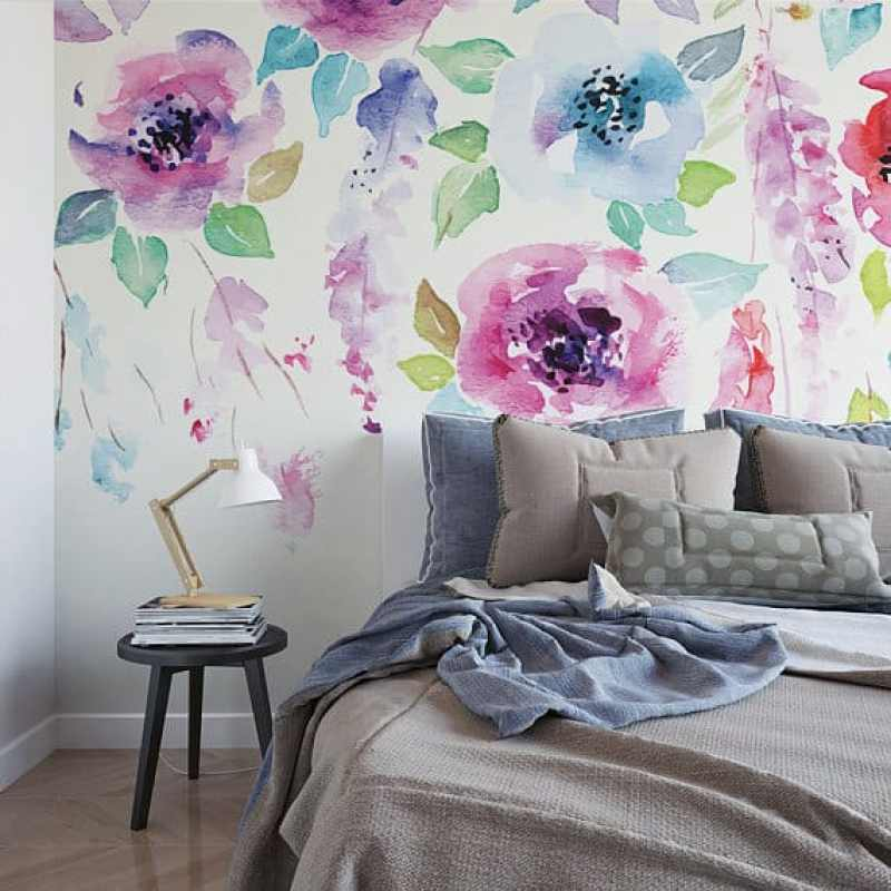 large scale floral temporary wallpaper