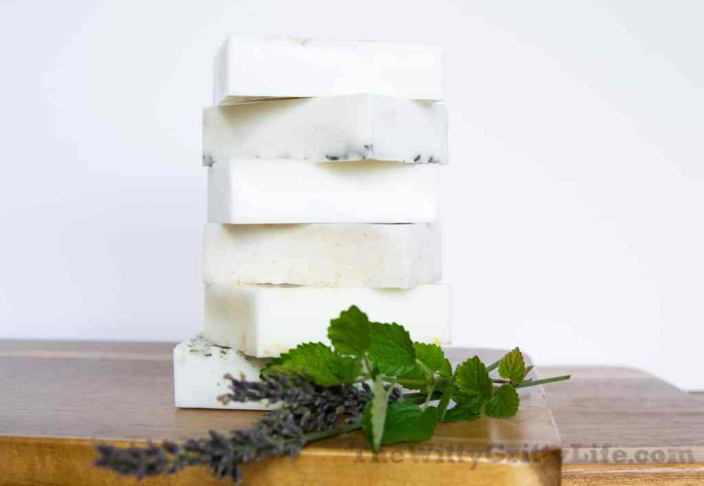 a stack of homemade soap