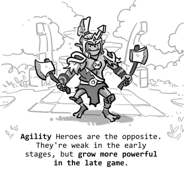 Agility Heroes are the opposite. They're weak in the early stages, but grow more powerful in the late game.