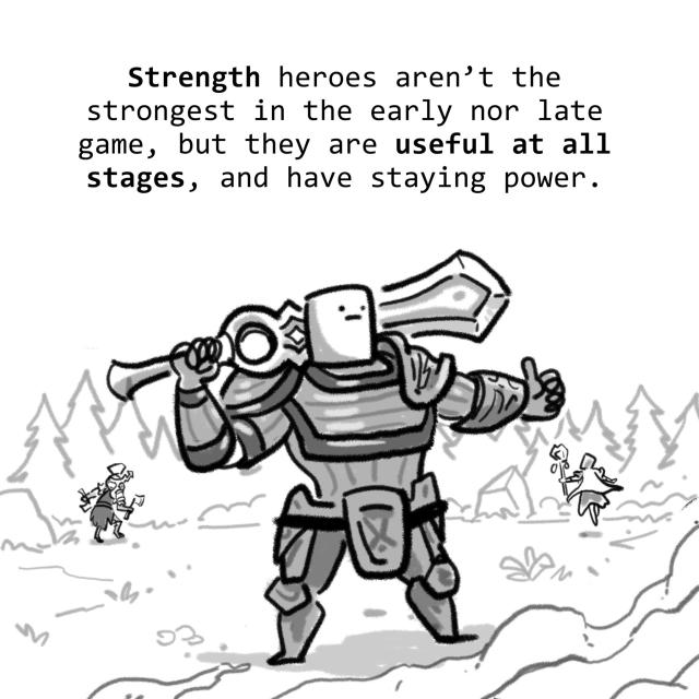 Strength heroes aren't the strongest in the early nor late game, but they are useful at all stages, and have staying power.