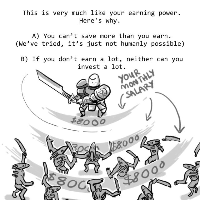 This is very much like your earning power. Here's why. A) You can't save more than you earn. (We've tried, it's just not humanly possible) B) If you don't earn a lot, neither can you invest a lot.