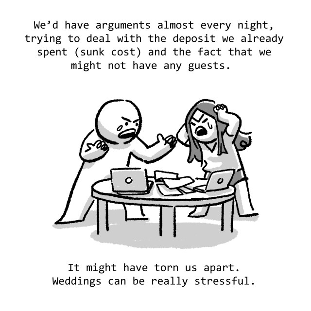 We'd have arguments almost every night, trying to deal with the deposit we already spent (sunk cost) and the fact that we might not have any guests. It might have torn us apart. Weddings can be really stressful.