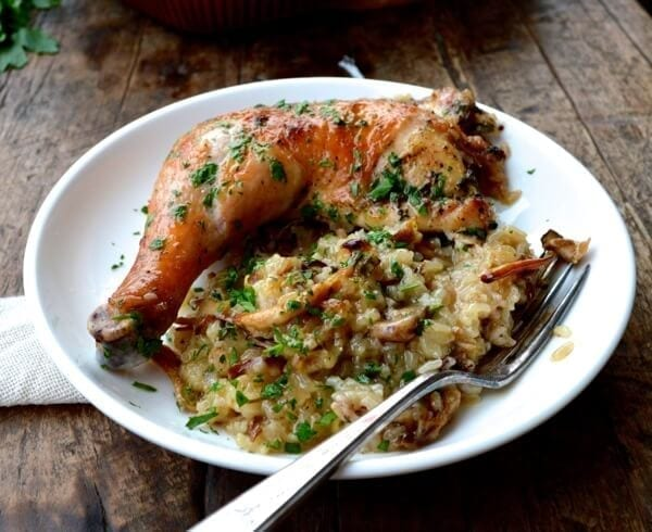 Image result for ROASTED CHICKEN WITH WILD RICE & MUSHROOMS