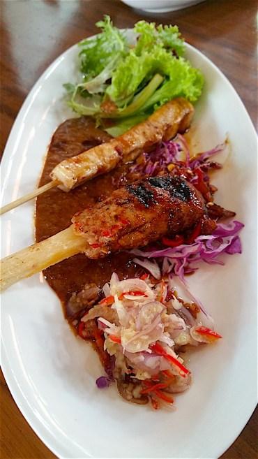 Fish satay, charcoal duck lilit satay, and samba