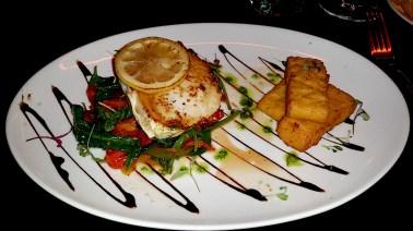 Swordfish with mediterranean salad & chickpea chips