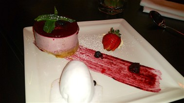 Forest fruit cheesecake with sorbet