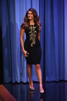 """NEW YORK, NY - AUGUST 05: Nina Dobrev Visits """"The Tonight Show Starring Jimmy Fallon"""" at Rockefeller Center on August 5, 2014 in New York City. (Photo by Theo Wargo/NBC/Getty Images for """"The Tonight Show Starring Jimmy Fallon"""")"""