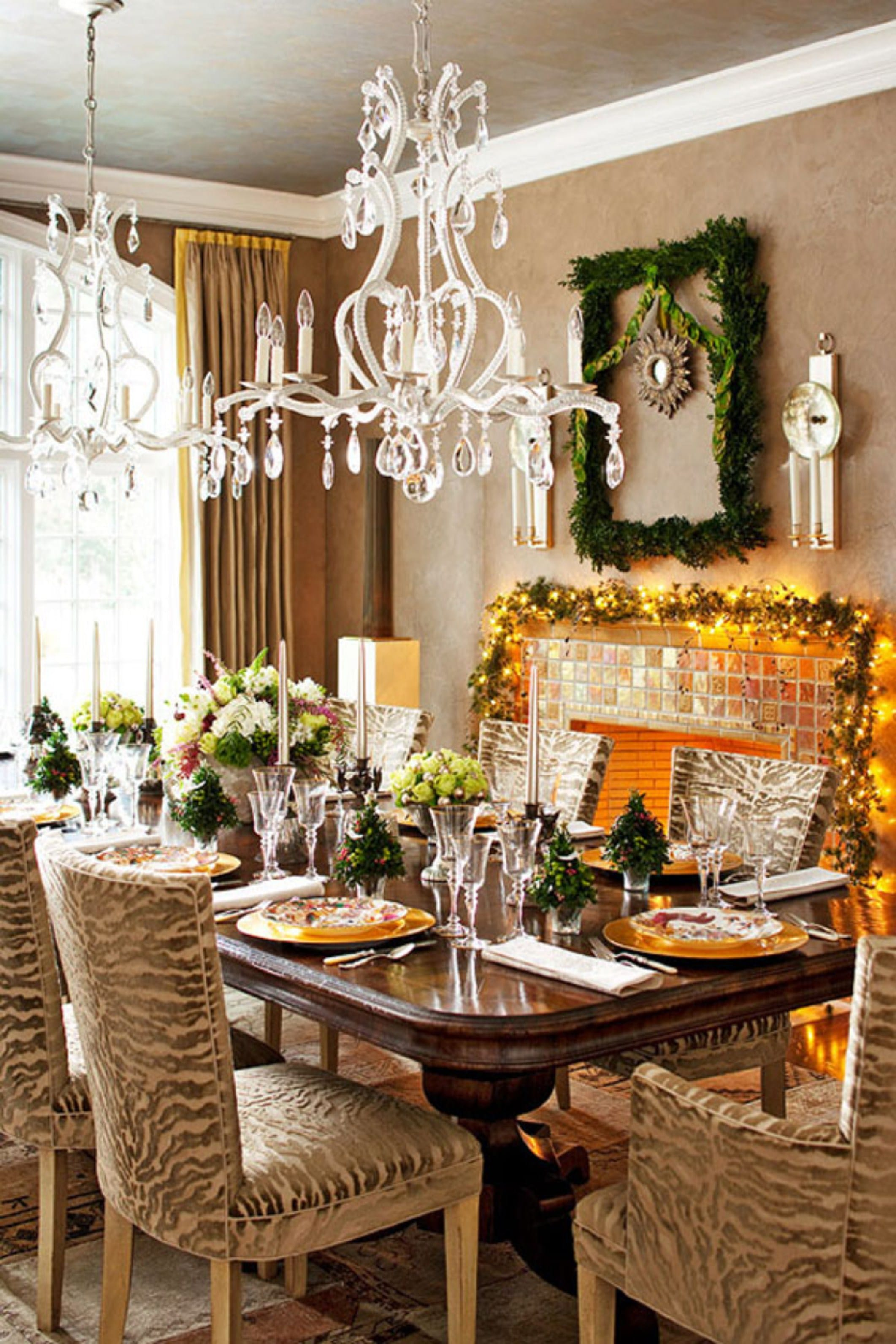 dining room flower arrangements for table with unique chandelier